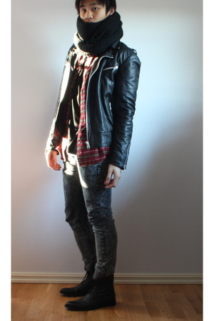 H&amp;M scarf - Mads Nrgaard jacket - Filippa K t-shirt - Cheap Monday jeans - Rizzo