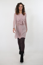 Ascot bow tie shirt dress in dusty pink wool. Handmade in Italy.