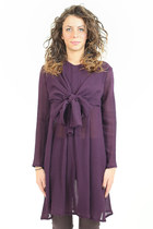 Ascot bow tie shirt dress in violet wool. Handmade in Italy.