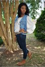 Blue-forever21-jeans-salmon-striped-thrifted-belt-light-blue-blue-jean-thrif