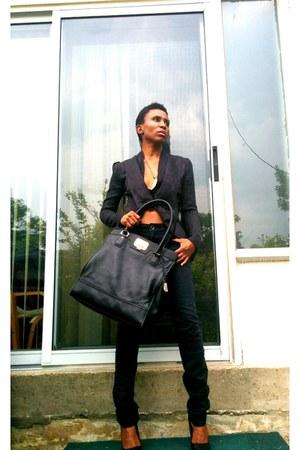 black Massimo Dutti jeans - black jacquard Bespoke blazer