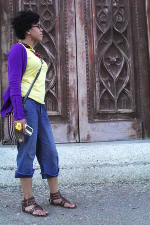 yellow Geft blouse - purple Zara sweater - blue jeans - necklace - brown purse -