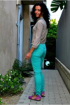 turquoise blue Forever 21 pants - Marc by Marc Jacobs top - Avarcas Pons sandals