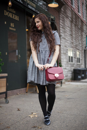 gray PepaLoves dress - ruby red leather coach bag