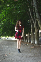 red plaid Urban Outfitters dress - black vintage Vintage boots boots