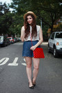 Red-polka-dot-salsit-bag-blue-denim-pepaloves-shorts