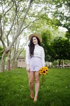 white Samantha Pleet shirt - periwinkle Samantha Pleet shorts