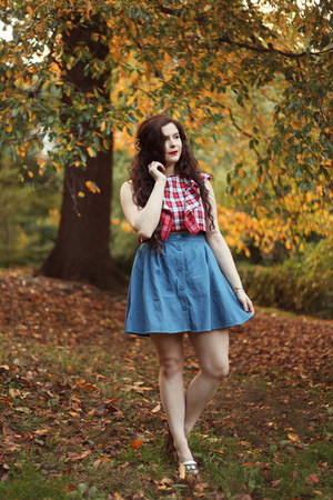 ruby red plaid Viva Aviva top - blue denim PepaLoves skirt