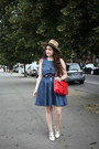 Blue-denim-pepaloves-dress-red-anchor-print-pepaloves-bag