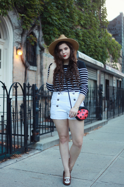 white white shorts others follow shorts - navy striped obey shirt