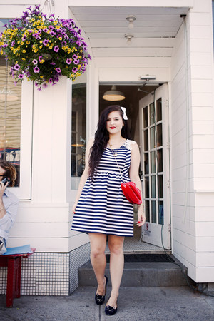 navy striped Maison Jules dress