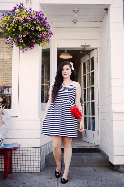 navy striped Maison Jules dress