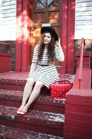 white striped others follow dress - red anchor print pepa loves purse