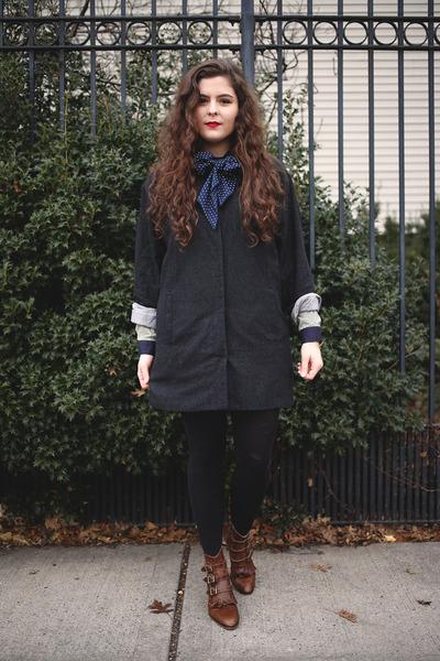 gray light coat Crossroads Trading coat - dark brown leather Modern Vice boots