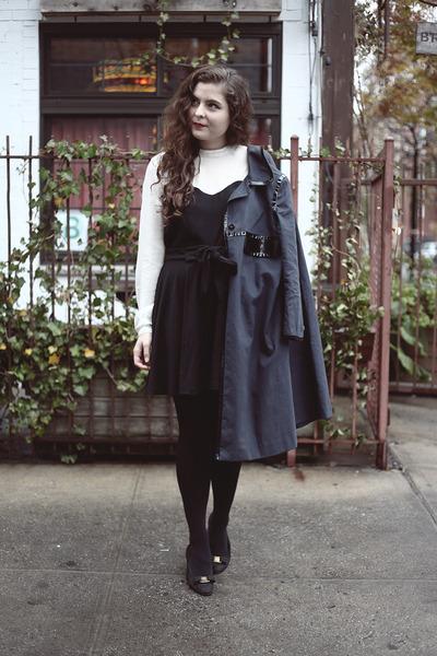 navy Anya Hindmarch coat - black black PepaLoves skirt