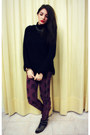 Gold-zara-shoes-black-zara-sweater-brick-red-zara-pants