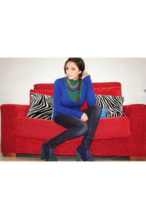 Zara jeans - Tata shoes - blue Tally Weijl bag - forest green Zara necklace
