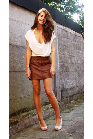 burnt orange zipper H&M skirt - beige glitters H&M top - beige wedges H&M wedges