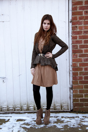 brown long dress H&M dress - litas Jeffrey Campbell boots