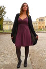 Maroon-motivi-dress-black-oroblu-tights