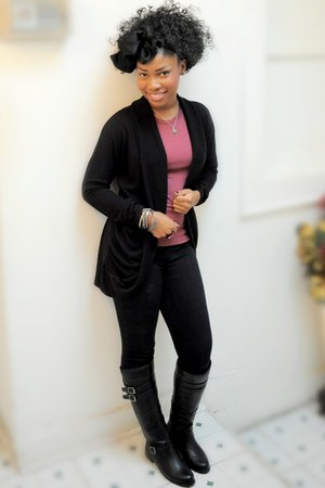 black Forever 21 accessories - black Forever 21 cardigan - maroon Forever 21 shi
