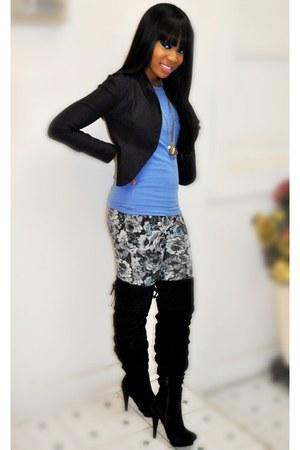 black Forever 21 boots - violet Forever 21 leggings - black Charlotte Russe blaz