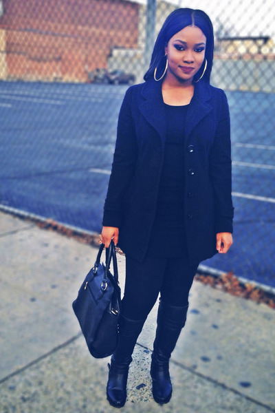 black boots - black jacket - black leggings - black shirt - black bag