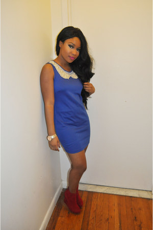 blue dress - ruby red boots - gold watch