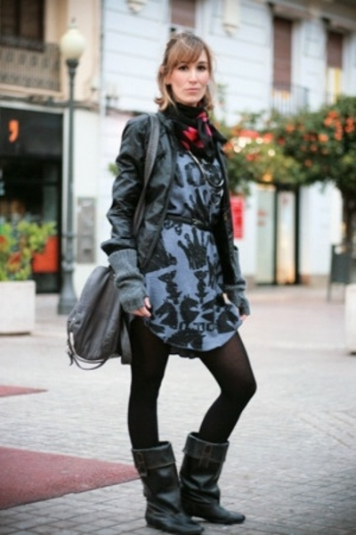 Zara dress - G-Sus jacket - Pepe Jeans gloves - Zara boots