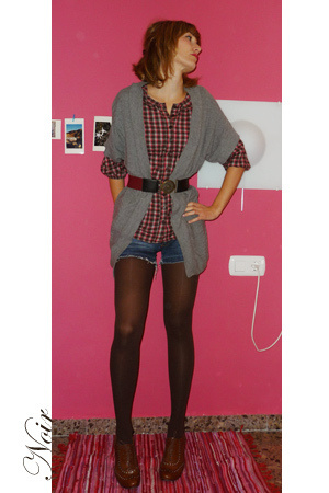HyM blouse - Mango sweater - Mango belt - BLANCO shorts - Calcedonia panties - I