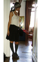 black Pepe Jeans skirt - Minelli shoes - Calcedonia socks - white BSK t-shirt