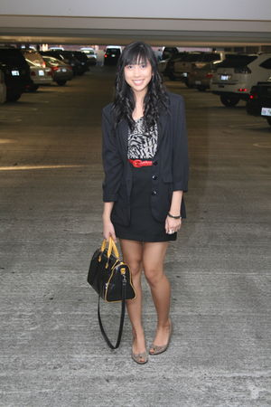 black blazer - silver H&M dress - black skirt - red belt