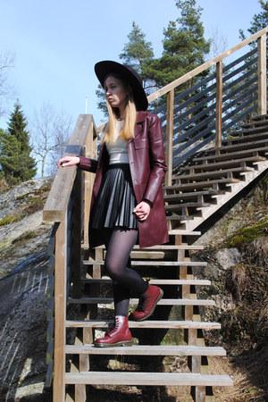 crimson H&M hat - crimson Dr Martens boots - crimson leather Zara coat