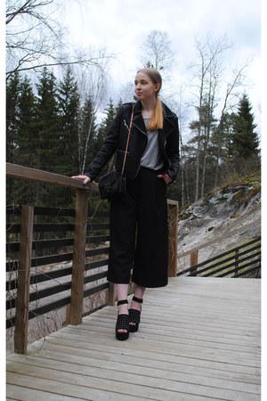 black leather Mango jacket - black Lumi bag - heather gray H&M t-shirt
