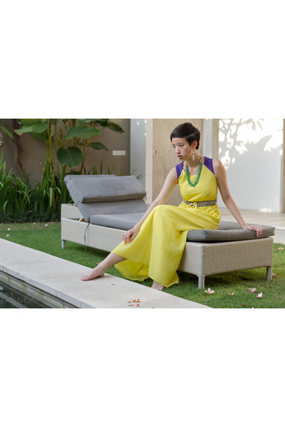 yellow maxi dress asos dress - chartreuse Lotus Pod necklace