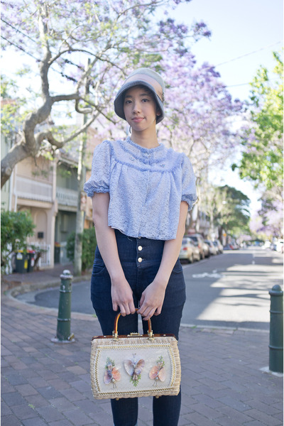 heather gray vintage hat - navy high waisted Miss Sixty jeans