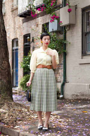 cream vintage top - dark khaki vintage skirt