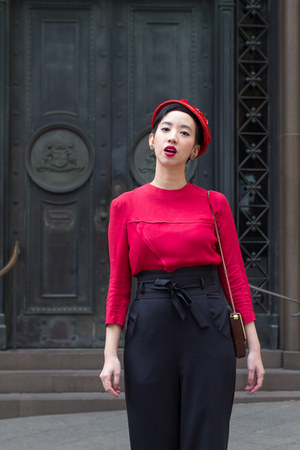 ruby red vintage top - black collectif clothing pants