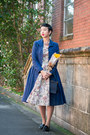 White-mimi-wears-vintage-dress-blue-vintage-coat