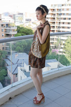 dark brown Ela Hawke Vintage dress - light brown vintage scarf