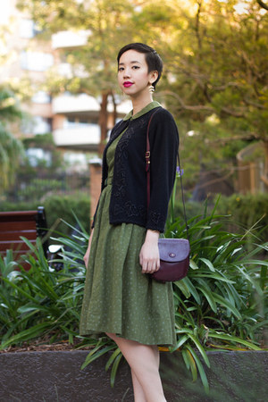 black vintage cardigan - green DIY dress