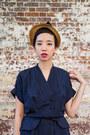 Navy-vintage-dress-bronze-1950s-straw-hat-vintage-hat