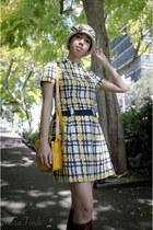 off white vintage hat - dark brown asos boots - yellow vintage dress