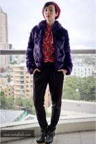 ruby red Oscar de la Renta blouse - black seychelles boots