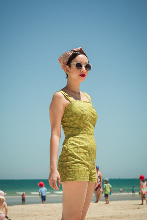 lime green DIY romper - bubble gum thrifted scarf - silver zeroUV sunglasses