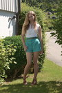 White-topshop-shirt-turquoise-blue-topshop-shorts-brown-bata-wedges-silver