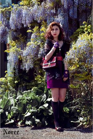 deep purple purple tulip H&M dress - black draped on dress Steilmann scarf