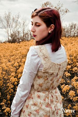 eggshell floral print Dorothy Perkins dress - white Orsay shirt - Primark heels