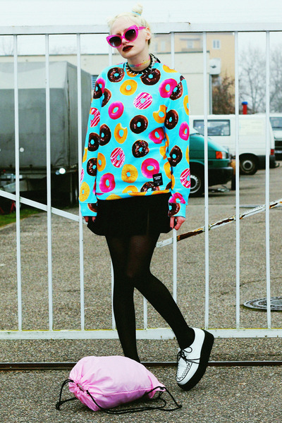 sky blue donut breakingrocksclothing sweater - white creepers Demonia shoes