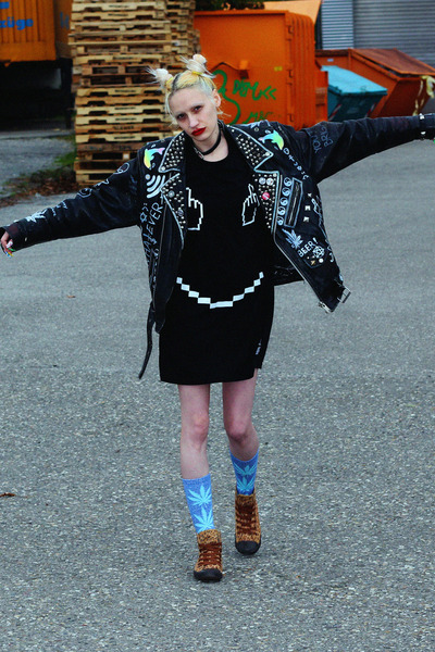 black leather jacket DIY jacket - black Local Heroes dress